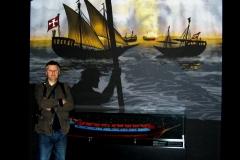 Stefan-Lindblad-infront-of-illustration-maritime-museum-Stockholm-sweden-2010