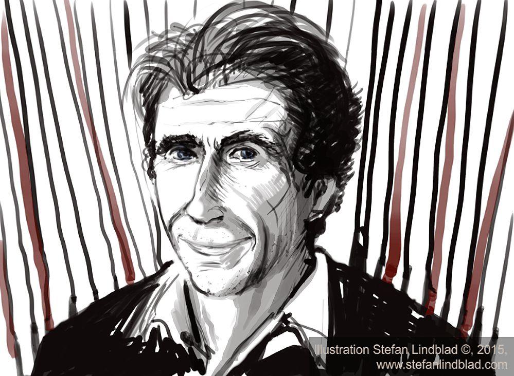 """Stefan Lindblad, drawing, Illustration. Porträtt på David Lagercrantz, Nye """"Stieg Larsson Millenium författaren"""". Boken: """"The Girl in the Spiders Web"""". Bloggtext: http://canvas.nu/stefanlindblad-blogg/?p=2827"""