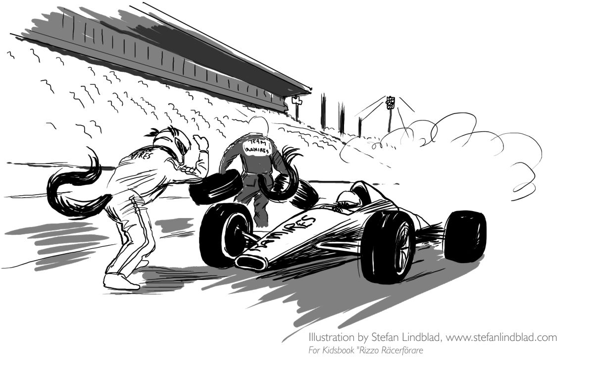 Stefan-Lindblad-Illustration-Rizzo-Raserforare-Pitstop2011