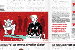 Illustration av Stefan Lindblad, teckning till tidningen Kollega, Unionens tidning