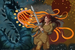 Stefan-lindblad-Fantasy_Art_Woman-fighting_monster_2015