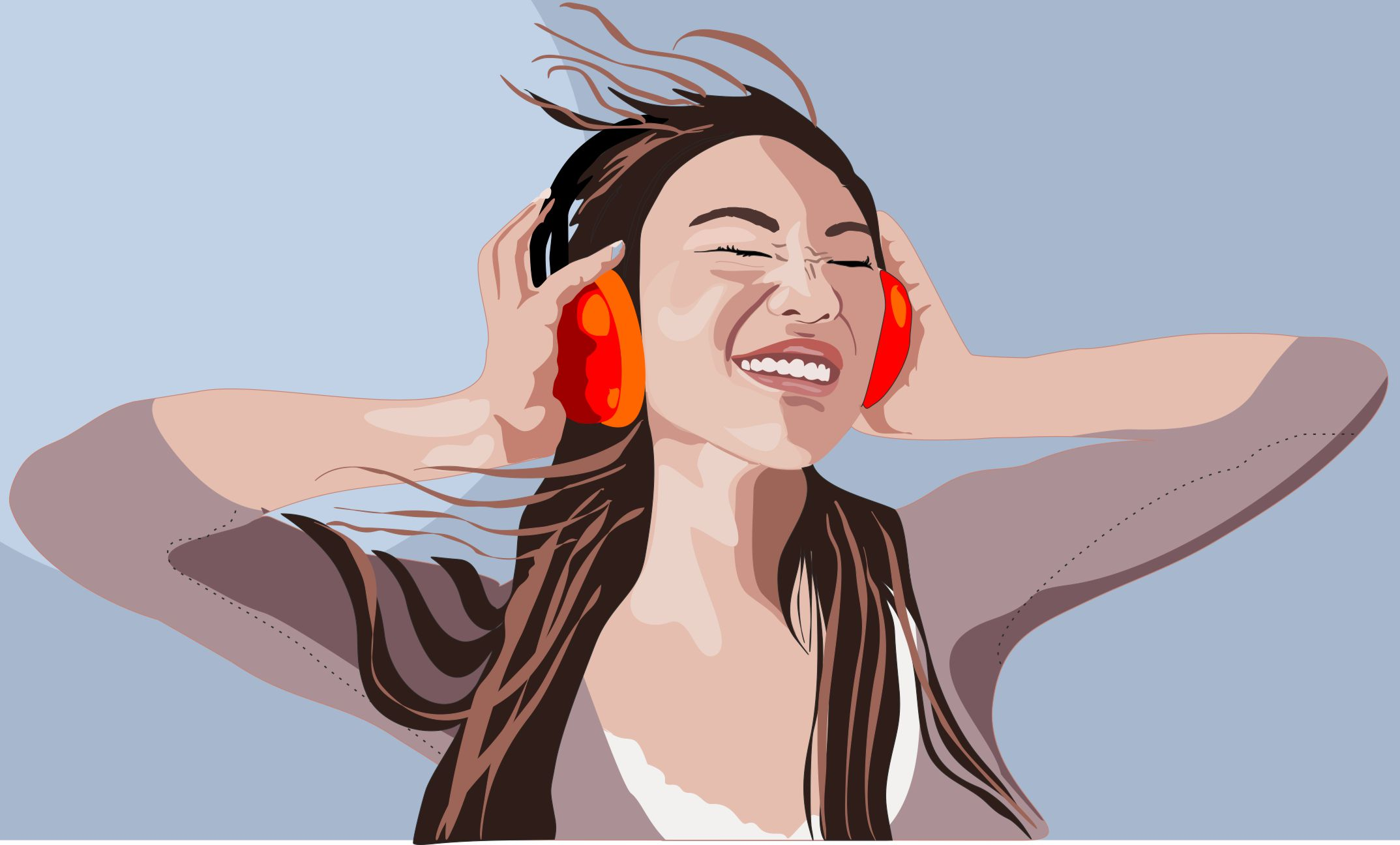 Woman, headphones, Music, Vector, illustration, vektor, Stefan Lindblad, Asian woman, girl, tjej, kvinna, CorelDRAW