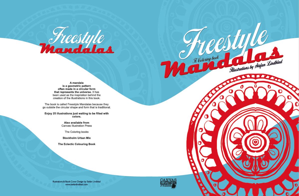 Bokomslag, målarbok, målarböcker, Illustratör, illustrationer, Stefan Lindblad, Freestyle Mandalas, Mandala, Colouring book, Coloring