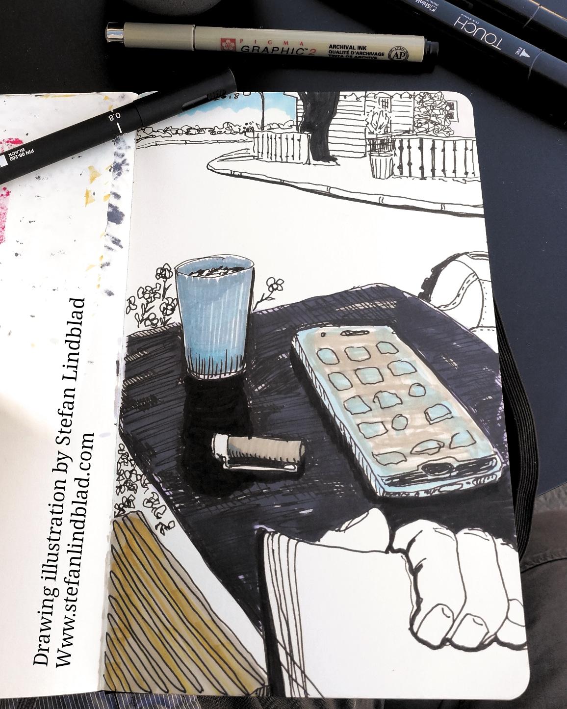 Teckning, illustration, Bageri, Delselius, Stefan Lindblad, illustratör, illustrator, Moleskine, tuschpennor