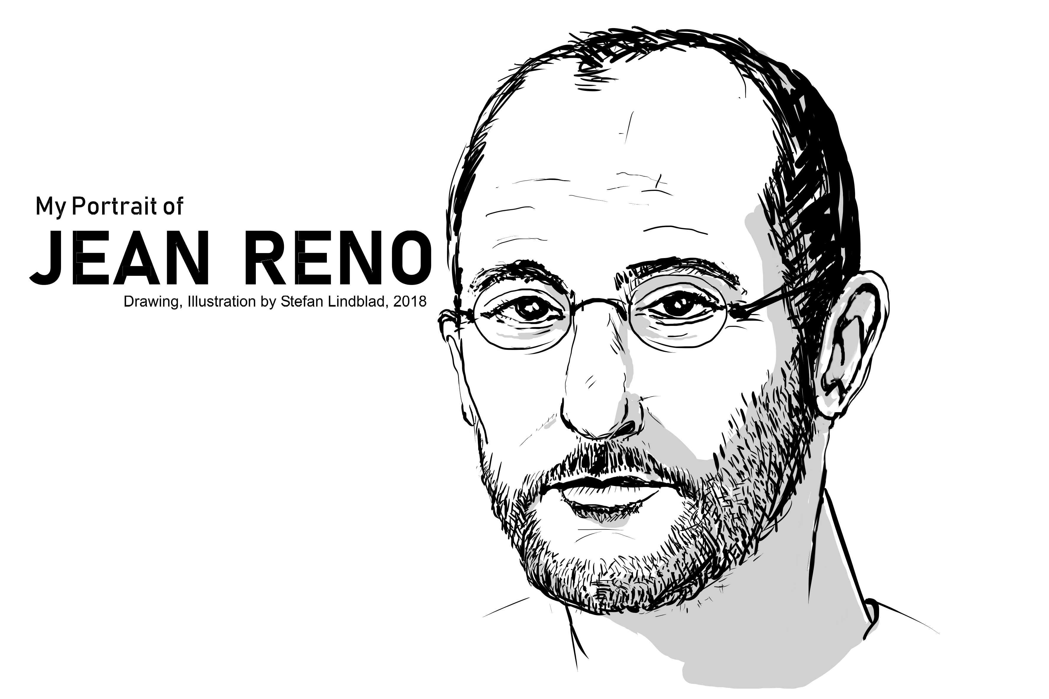 Jean Reno, Portrait, Porträtt, by Stefan LIndblad, Illustratör, Illustrator, Illustratore